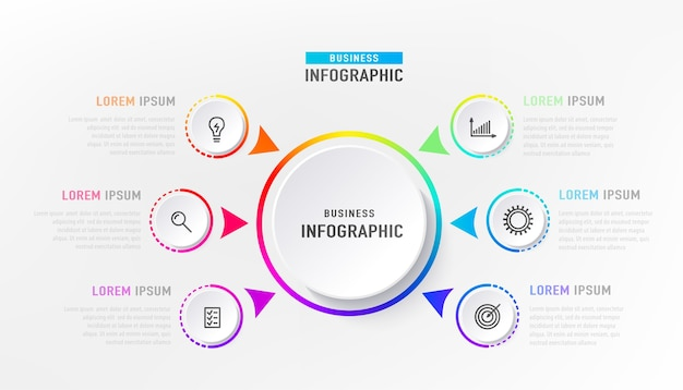 Infografika 6-elementowa Z Okręgiem W środku. Graficzny Diagram Wykresu, Projekt Graficzny Osi Czasu Biznesu W Jasnym Kolorze Tęczy Z Ikonami. Darmowych Wektorów