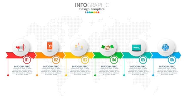 Infografika 6 Kroków Kolor Elementu Ze Strzałką, Diagram Wykresu, Koncepcja Marketingu Biznesowego Premium Wektorów