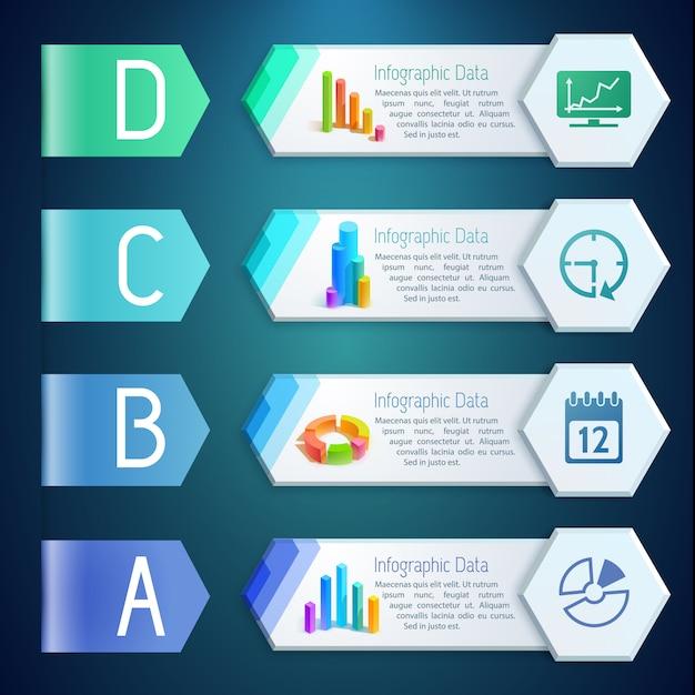 Infografika Cyfrowe Banery Z Diagramami Tekstowymi, Wykresami, Wykresami, Ikonami Na Sześciokątach, Cztery Opcje Ilustracji Darmowych Wektorów