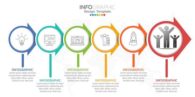 Infografika dla koncepcji biznesowej z ikonami i opcje lub kroki. Premium Wektorów