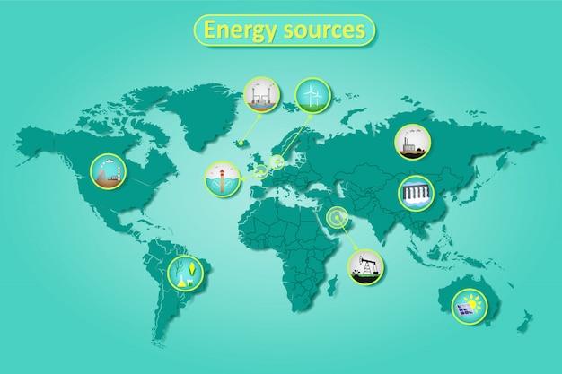 Infografika Energii Elektrycznej I źródeł Energii Na Mapie świata Premium Wektorów