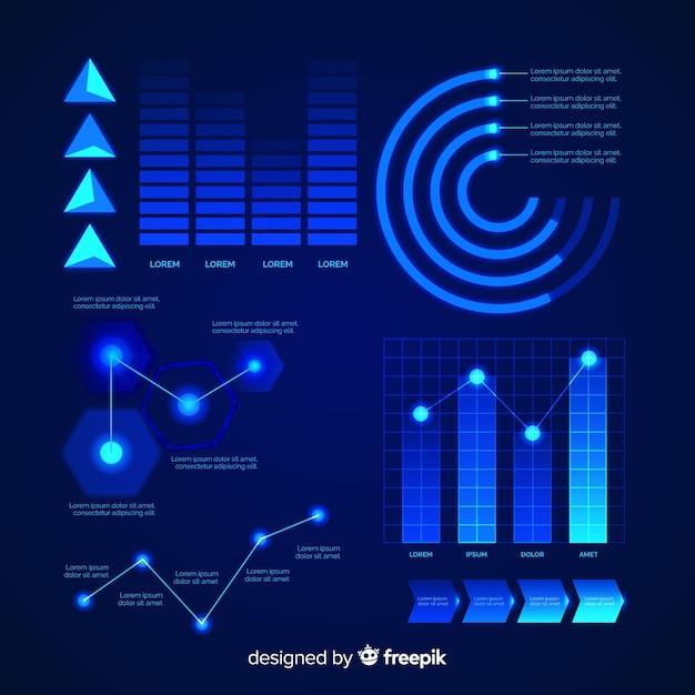 Infografika futurystyczny element kolekcja Darmowych Wektorów