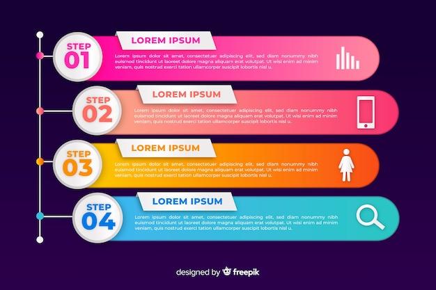 Infografika gradientowa zestaw szablonów faz Darmowych Wektorów