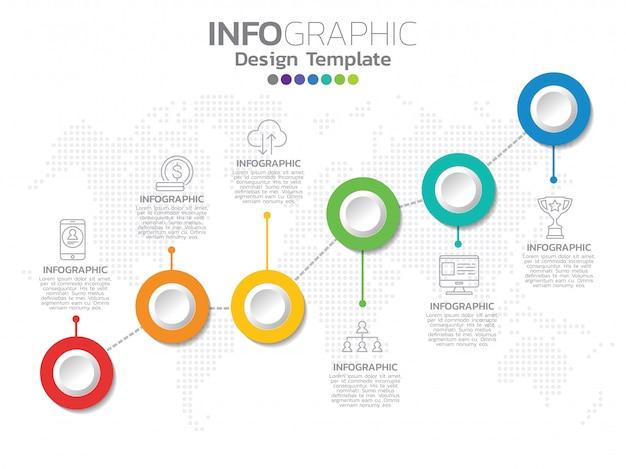 Infografika ikon biznesowych i 6 opcji lub kroków. Premium Wektorów