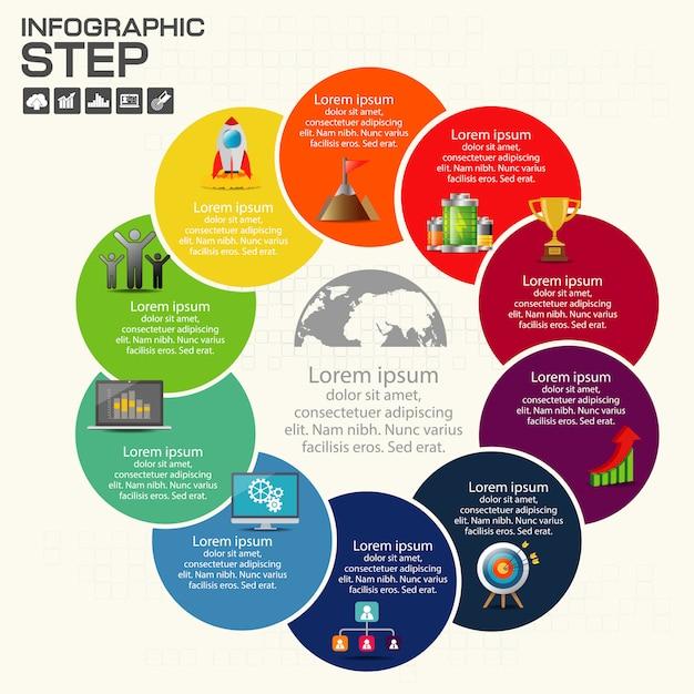 Infografika krok po kroku. wykres kołowy, wykres, diagram z 10 krokami, Premium Wektorów