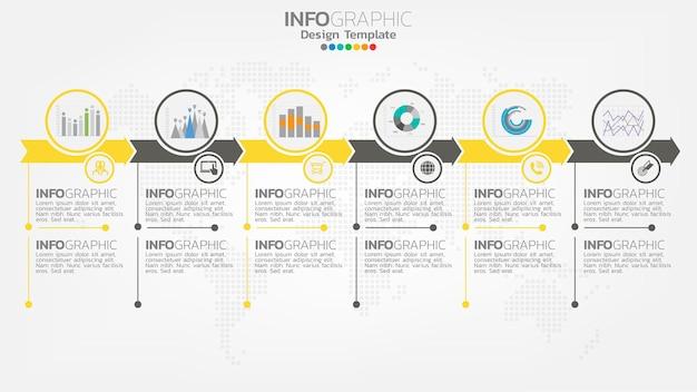 Infografika Krok żółty Kolor Elementu Ze Strzałką, Diagram Wykresu, Koncepcja Marketingu Online Biznesu. Premium Wektorów