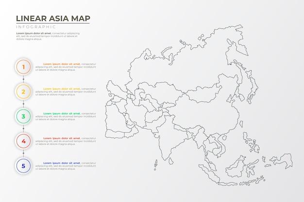Infografika Liniowej Mapy Azji Darmowych Wektorów
