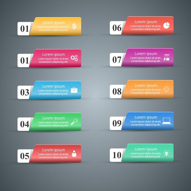 Infografika. Lista 10 Przedmiotów. Premium Wektorów