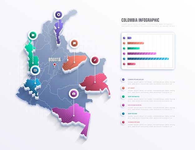 Infografika Mapy Kolumbii Premium Wektorów