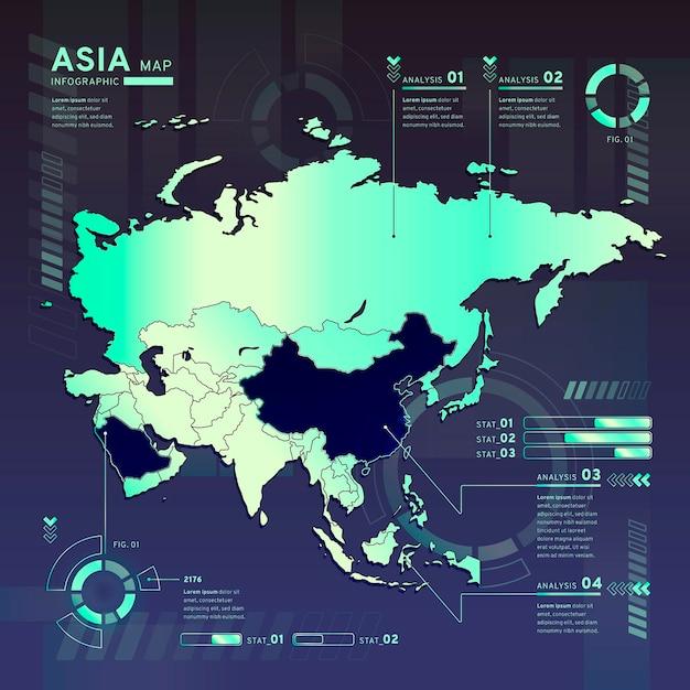 Infografika Mapy Neonowej Azji W Płaskiej Konstrukcji Darmowych Wektorów