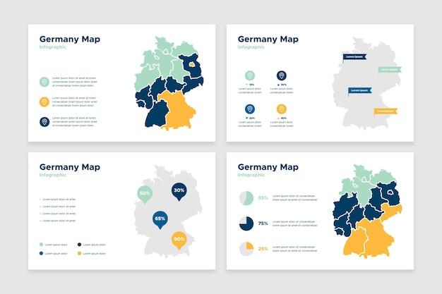 Infografika Mapy Niemiec W Płaskiej Konstrukcji Darmowych Wektorów