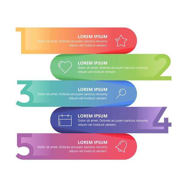 Infografika numer prezentacji biznesowej pełny kolor Premium Wektorów