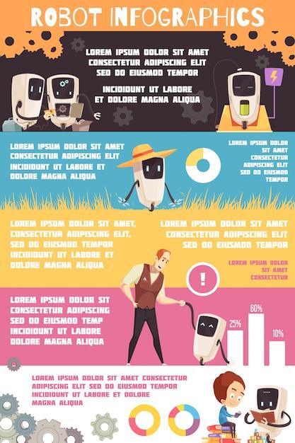 Infografika robotów sztucznej inteligencji Darmowych Wektorów