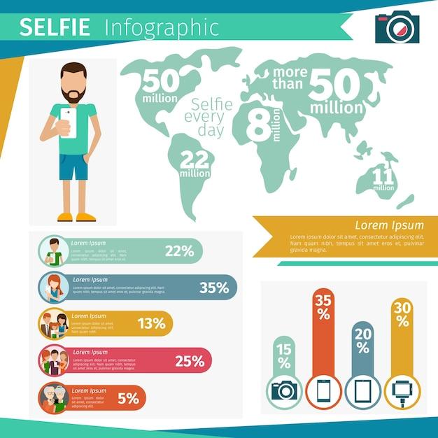 Infografika Selfie. Technologia Mobilna, Zdjęcie Społecznościowe Smartfona. Darmowych Wektorów