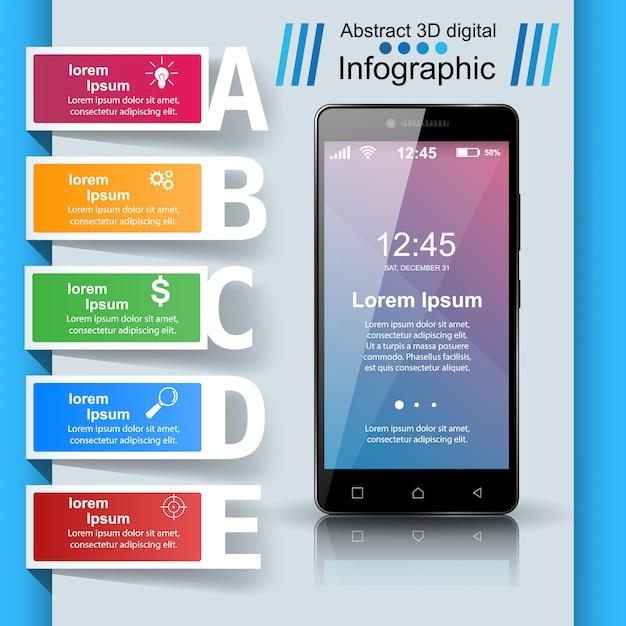 Infografika smartphone Premium Wektorów