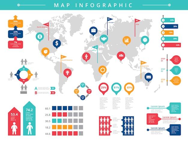 Infografika świata. Biznes Prezentacja Ludzi Zaludnienie Wektor Infographic Szablon Premium Wektorów