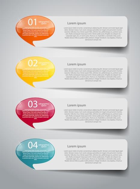 Infografika Szablon Biznesowy Z Czterema Krokami Premium Wektorów