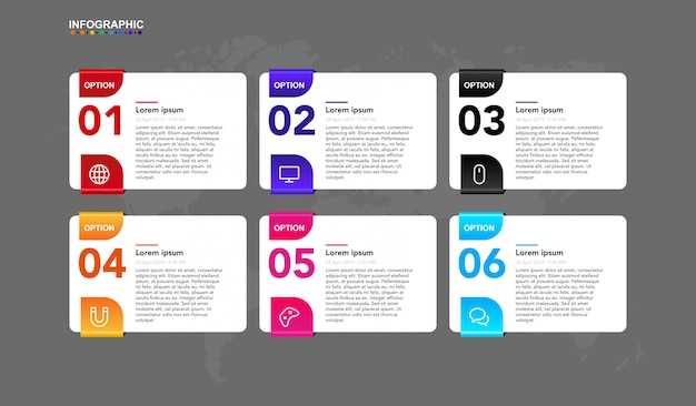 Infografika szablon dla biznesu 6 kroków przepływu pracy z symbolem i artykułem. transparent premium infographic w wektorze Premium Wektorów
