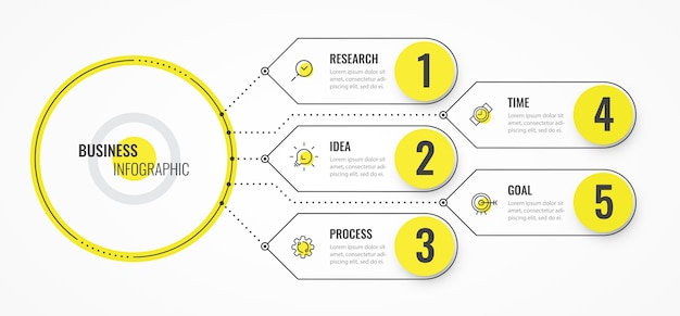 Infografika Szablon Projektu Cienka Linia Ze Strzałkami I 5 Opcjami Lub Krokami. Premium Wektorów