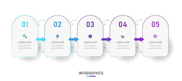 Infografika Szablon Projektu Etykiety Z Ikonami I 5 Opcjami Lub Krokami Premium Wektorów