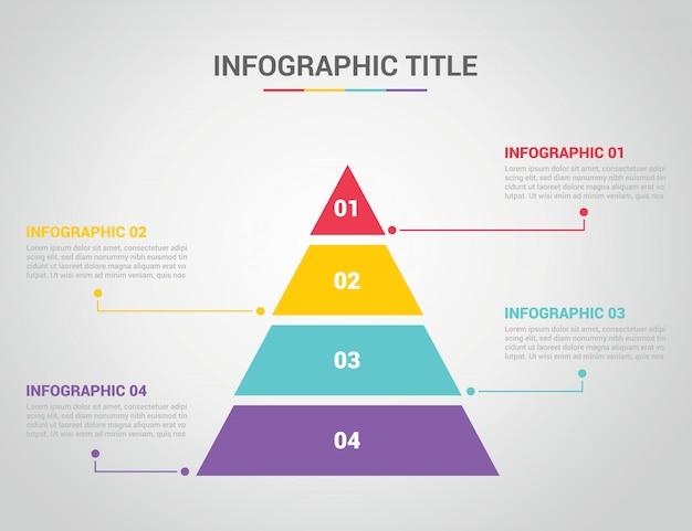 Infografika szablon w stylu piramidy z wolnego miejsca na tekst Premium Wektorów