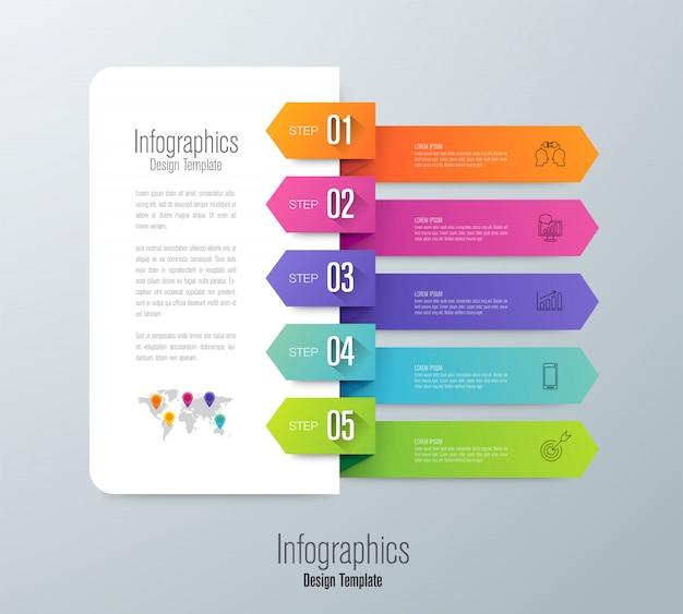 Infografika z krokami i opcjami Premium Wektorów