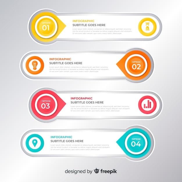Infografika z krokiem i opcjami Darmowych Wektorów