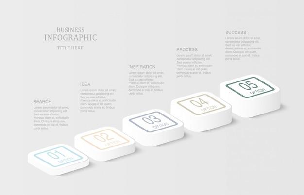 Infografiki 3d kwadratowe lub przyciskowe. Premium Wektorów