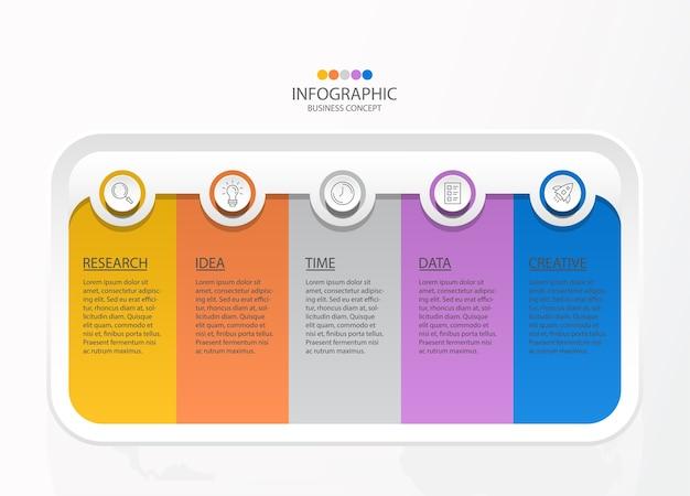Infografiki 5 Elementów Kwadratowych I Podstawowych Kolorów Dla Obecnej Koncepcji Biznesowej. Premium Wektorów