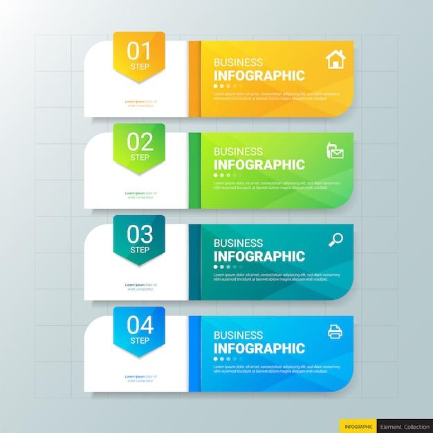 Infografiki biznesowe 4 kroki szablon. Premium Wektorów