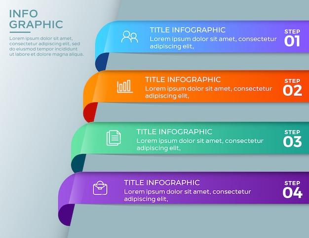 Infografiki biznesowe 4 kroki szablon Premium Wektorów