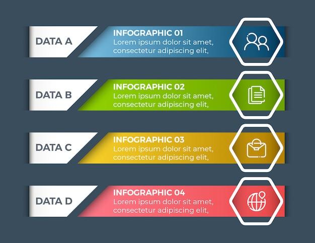 Infografiki biznesowe opcje 4 kroki Premium Wektorów
