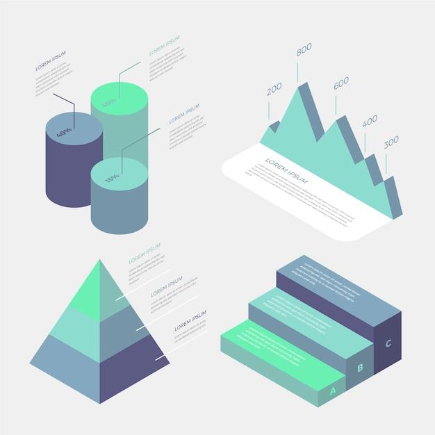 Infografiki Biznesowych Izometryczny Gradient Niebieski Design Darmowych Wektorów