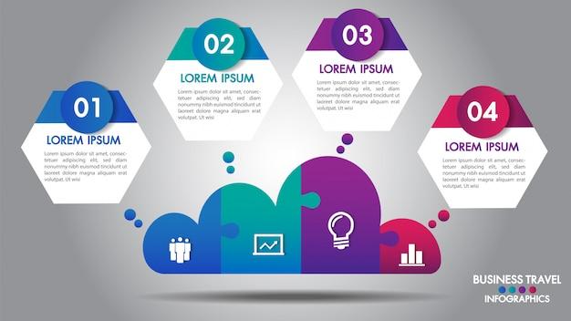 Infografiki biznesu projektowania w chmurze Premium Wektorów