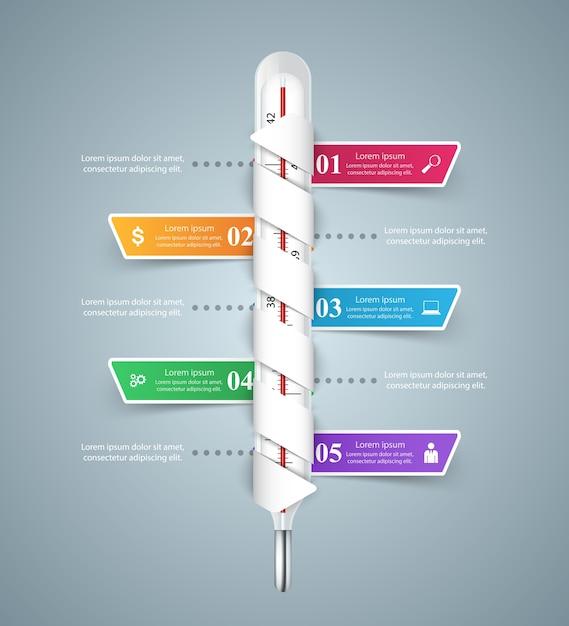Infografiki Biznesu Termometr. Ikona Zdrowia. Premium Wektorów