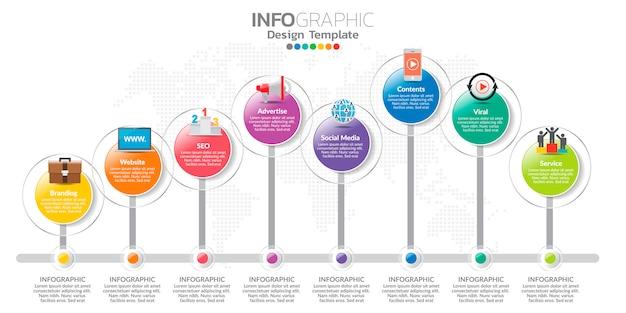 Infografiki dla biznesu z ikonami i opcjami lub krokami. Premium Wektorów