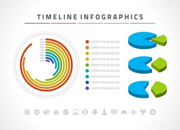 Infografiki i ikony wektor szablon projektu osi czasu. Premium Wektorów