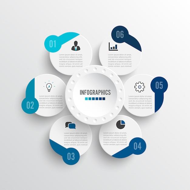 Infografiki ilustracji wektorowych 6 opcji. Premium Wektorów