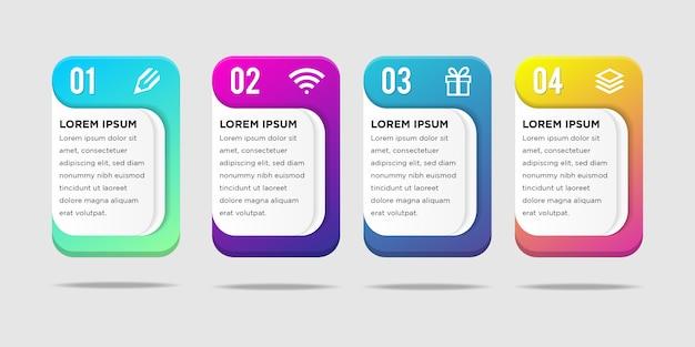 Infografiki ilustracji wektorowych długie kwadraty z zaokrąglonymi narożnikami Premium Wektorów