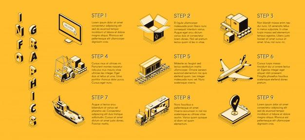 Infografiki izometryczne dostawy firmy Darmowych Wektorów