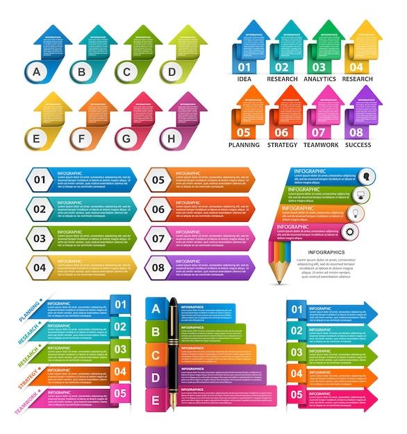 Infografiki Kolekcji. Elementy Wystroju. Premium Wektorów