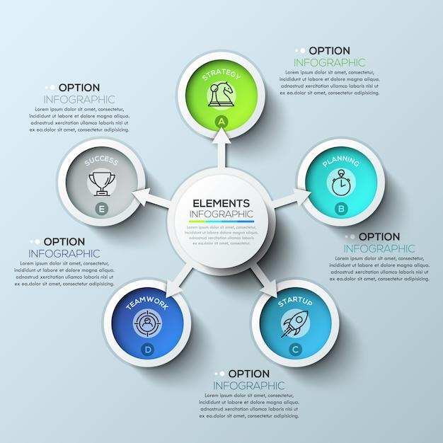 Infografiki koło strzałki z pięcioma opcjami Premium Wektorów