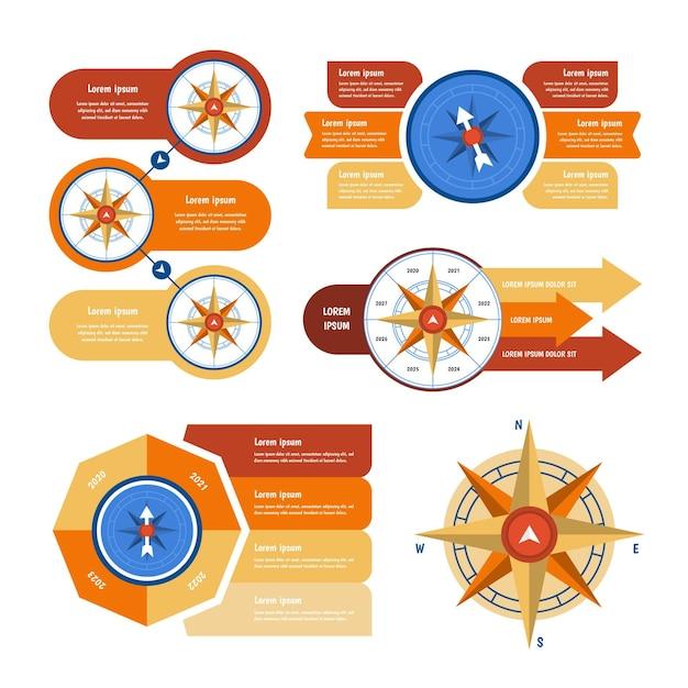Infografiki Kompasu Gradientu Darmowych Wektorów