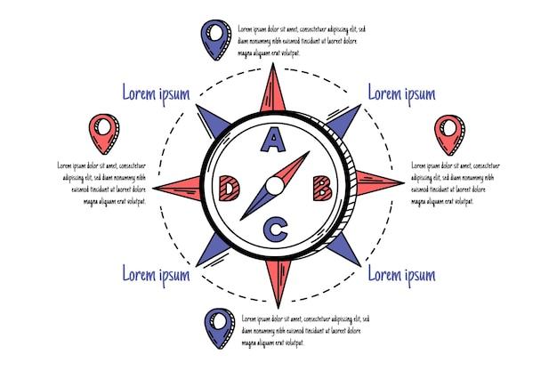 Infografiki Kompasu Rysowane Ręcznie Darmowych Wektorów