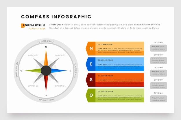 Infografiki Kompasu W Płaskiej Konstrukcji Darmowych Wektorów