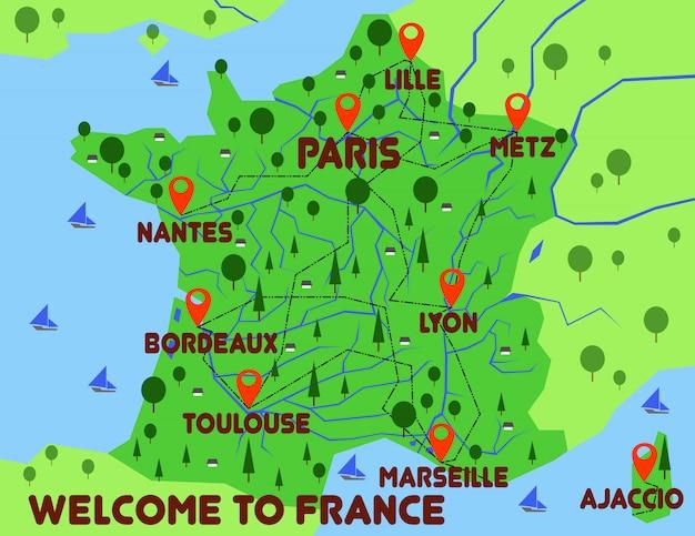 Infografiki Kraju Mapę Francji Premium Wektorów
