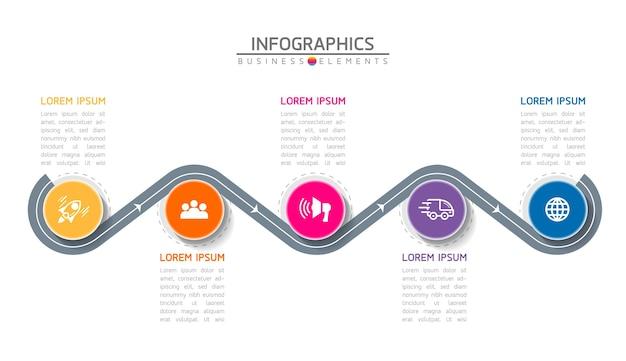 Infografiki. Kroki Lub Procesy. 5 Kroków. Premium Wektorów