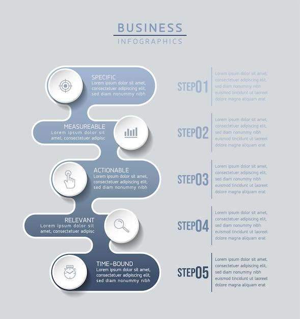 Infografiki. Kroki Lub Procesy. Opcje Numer Projektu Szablonu Przepływu Pracy. 5 Kroków. Premium Wektorów
