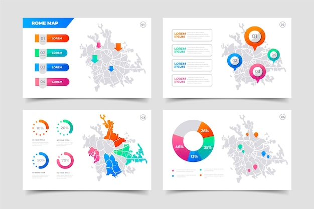 Infografiki Mapy Gradientu Rzymu Darmowych Wektorów