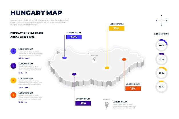 Infografiki Mapy Izometrycznej Węgier Darmowych Wektorów